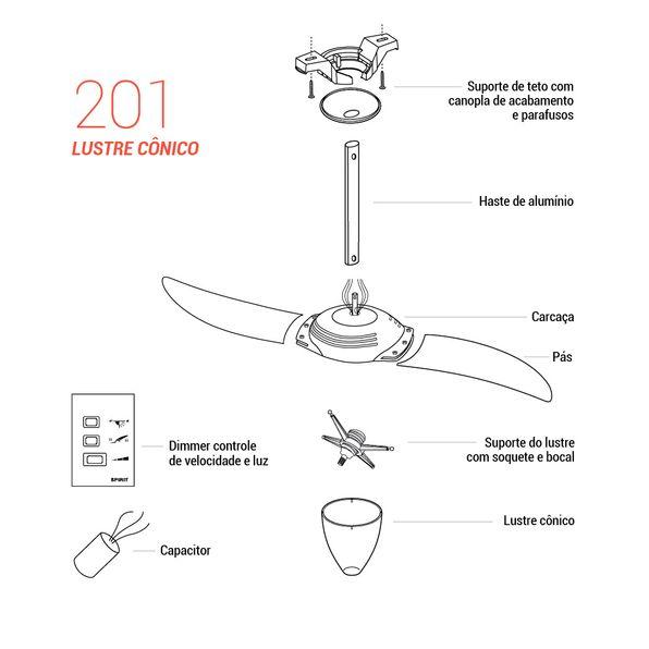 Pecas-para-Reposicao-Ventilador-de-Teto-Spirit-Modelo-201-Vermelho