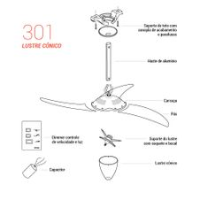 Pecas-para-Reposicao-Ventilador-de-Teto-Spirit-Modelo-301-Indigo