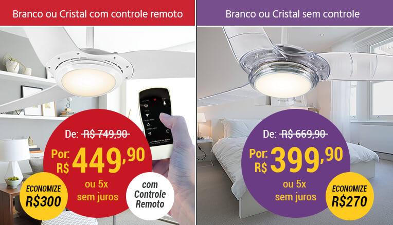 Ventilador de Teto Spirit Branco ou Cristal com e sem Controle Remoto