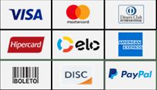 Ventiladores de Teto Spirit - Formas de Pagamento - Master Card | Visa | Elo | Hipercard | American Express | Dinners | Disc | Paypal | Boleto