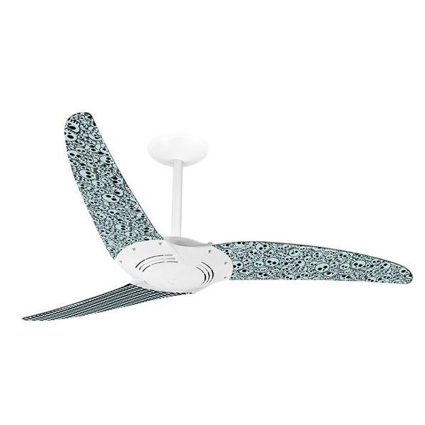 Ventilador-de-Teto-Spirit-300-Caveira-Grafismo-em-Preto-e-Branco-L69-Sem-Lustre