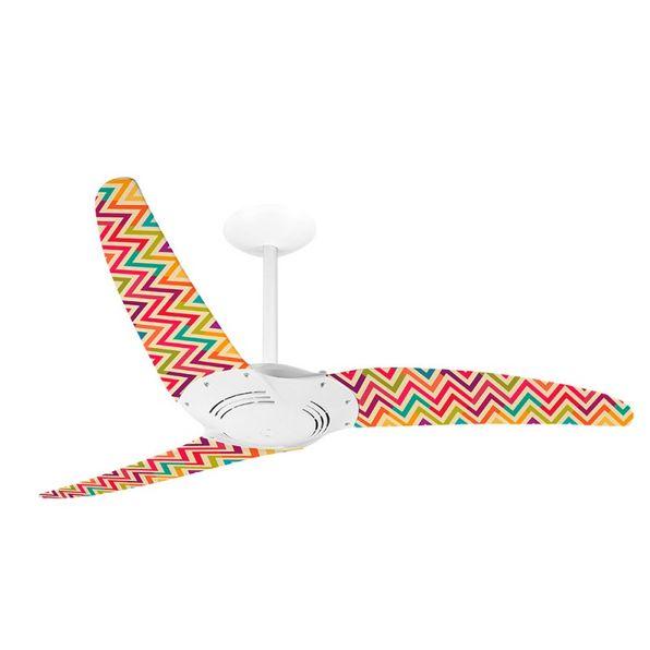 Ventilador-de-Teto-Spirit-300-Listrado-Zigzag-Colorido-WWL27-Sem-Lustre