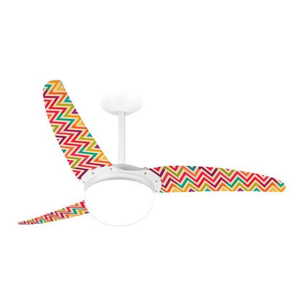 Ventilador-de-Teto-Spirit-302-Listrado-Zigzag-Colorido-WWL27-Lustre-Globo