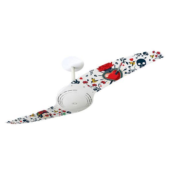 Ventilador-de-Teto-Spirit-200-Frida-Kahlo-Caveira-e-Coracao-Branco-Fk02-Sem-Lustre