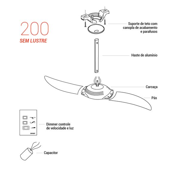 Pecas-para-Reposicao-Ventilador-de-Teto-Spirit-Modelo-200-Cristal