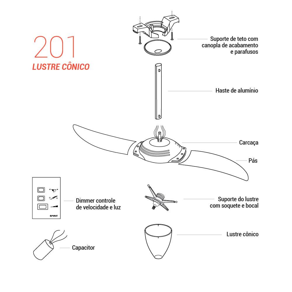 Peça para Reposição Ventilador de Teto Spirit Modelo 201