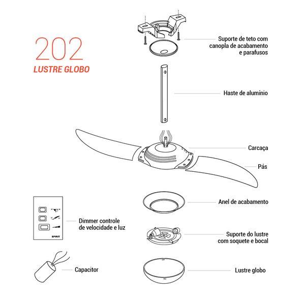 Pecas-para-Reposicao-Ventilador-de-Teto-Spirit-Modelo-202-Tangerina