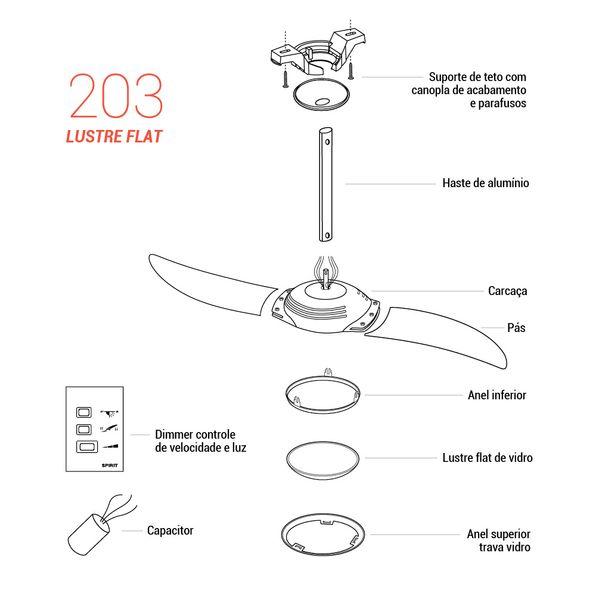 Pecas-para-Reposicao-Ventilador-de-Teto-Spirit-Modelo-203-Grafite