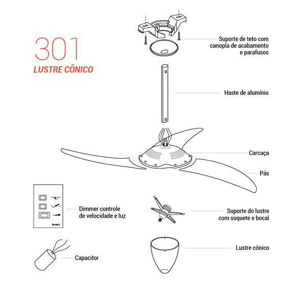 Pecas-para-Reposicao-Ventilador-de-Teto-Spirit-Modelo-301-Tangerina