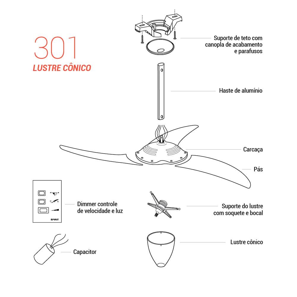 Peça para Reposição Ventilador de Teto Spirit Modelo 301