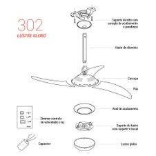 Pecas-para-Reposicao-Ventilador-de-Teto-Spirit-Modelo-302-Tangerina